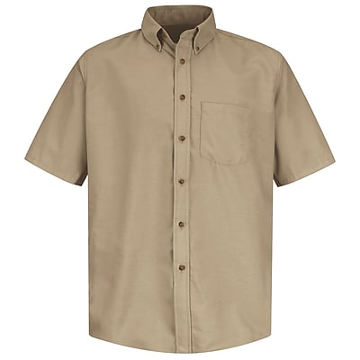 Red Kap Men's Poplin Dress Shirt SSL x XL, Khaki