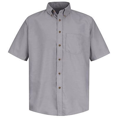 Red Kap Men's Poplin Dress Shirt SS x XL, Silver grey