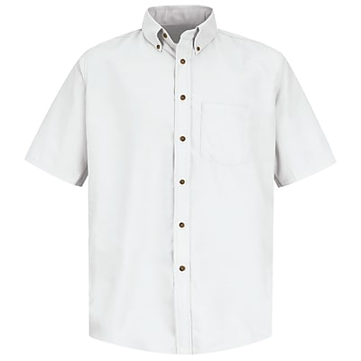 Red Kap Men's Poplin Dress Shirt SS x L, White