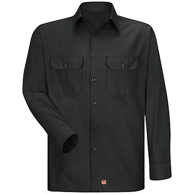 Red Kap Men's Solid Rip Stop Shirt LN x XL, Black