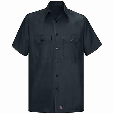 Red Kap Men's Solid Rip Stop Shirt SSL x L, Black