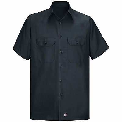Red Kap Men's Solid Rip Stop Shirt SSL x XXL, Black