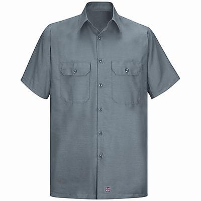 Red Kap Men's Solid Rip Stop Shirt SSL x XL, Grey