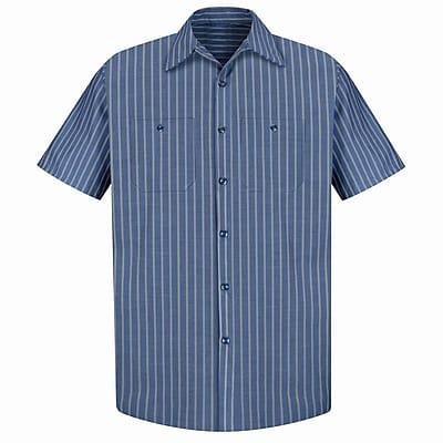 Red Kap Men's Industrial Stripe Work Shirt SSL x XXL, Navy / khaki stripe