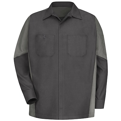 Red Kap Unisex Crew Shirt LN x L, Charcoal / light grey