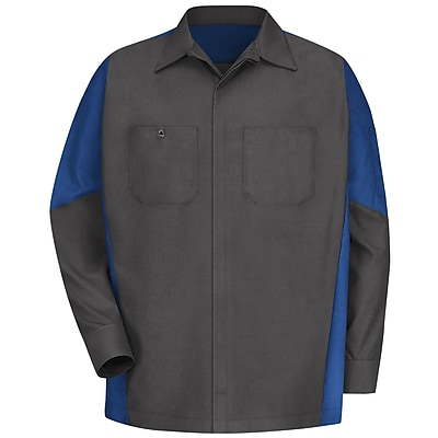 Red Kap Men's Crew Shirt RG x XXL, Charcoal / royal blue