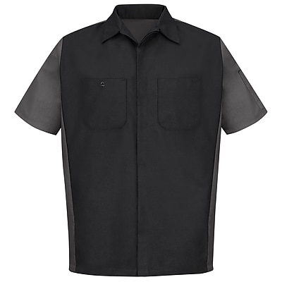 Red Kap Unisex Crew Shirt SSL x XL, Black / charcoal