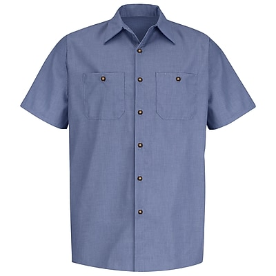 Red Kap Men's Geometric Micro-Check Work Shirt SS x S, Denim blue microcheck