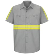 Red Kap Men's Enhanced Visibility Industrial Work Shirt SSL x XXL, Light Grey with Yellow & Green Visibility Trim