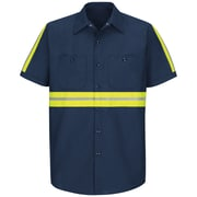Red Kap Men's Enhanced Visibility Industrial Work Shirt SSL x XXL, Navy with Yellow & Green Visibility Trim