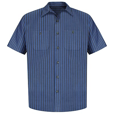 Red Kap Men's Industrial Stripe Work Shirt SSL x XXL, Grey / blue stripe