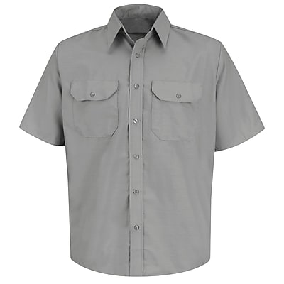 Red Kap Men's Solid Dress Uniform Shirt SS x XL, Light grey