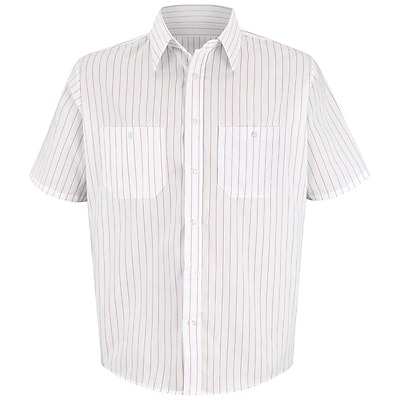 Red Kap Men's Striped Dress Uniform Shirt SS x XL, Red / white stripe