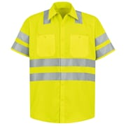 Red Kap  Men's Hi-Visibility Work Shirt - Class 3 Level 2 SS x XXL, Fluorescent Yellow & Green