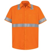 Red Kap  Men's Hi-Visibility Work Shirt - Class 2 Level 2 SSL x XXL, Fluorescent orange