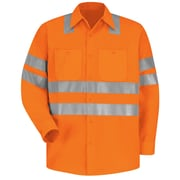 "Red Kap  Men's Hi-Visibility Work Shirt - Class 3 Level 2 X"" Striping Configuration"" RG x M, Fluorescent orange"