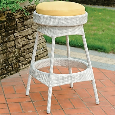 South Sea Rattan Bahia 24'' Bar Stool w/ Cushion; Jockey Red