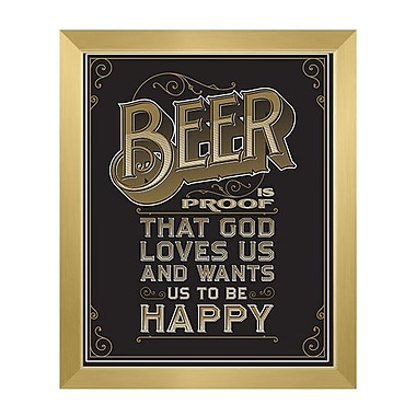 Click Wall Art Beer Is Proof That God Loves Us Framed Textual Art in Black; 23'' H x 19'' W