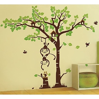Pop Decors Playing Monkeys and Squirrel in The Grassland Wall Decal