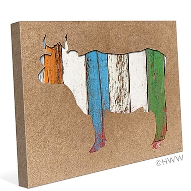 Click Wall Art Colored Wood Textured Cow Painting Print on Wrapped Canvas; 8'' H x 10'' W x 0.75'' D