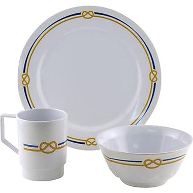 Galleyware Company Decorated Rope Melamine 12 Piece Dinnerware Set, Service for 4