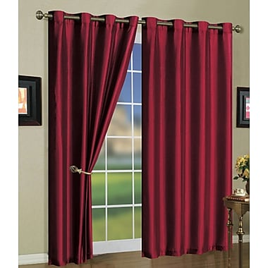 J&V Textiles Solid Semi-Sheer Grommet Curtain Panels (Set of 3); Burgundy