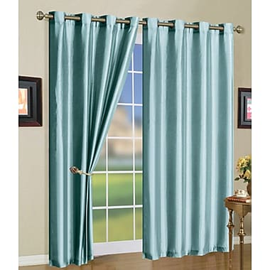 J&V Textiles Solid Semi-Sheer Grommet Curtain Panels (Set of 3); Light Blue