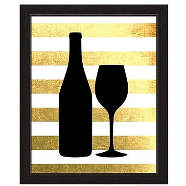 Click Wall Art Wine And Bottle Sihouette Framed Graphic Art; 23'' H x 19'' W x 1'' D