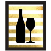 Click Wall Art Wine And Bottle Sihouette Framed Graphic Art; 33'' H x 23'' W x 1'' D