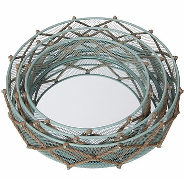 Privilege 3 Piece Metal Mirror Set; Light Blue