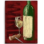 Click Wall Art Artistic Wine Bottle and Corkscrew Painting Print Plaque; 12'' H x 9'' W x 1'' D