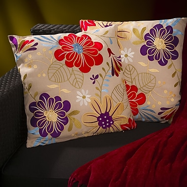 Home Loft Concepts Meadow Embroidered Flowers Throw Pillow (Set of 2)