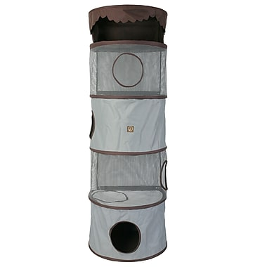 OneForPets 69'' Portable Four Story Cat Condo; Grey / Brown