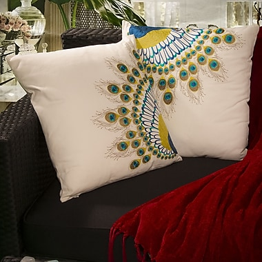 Home Loft Concepts Natural Embroidered Peacock Tail Throw Pillow (Set of 2)