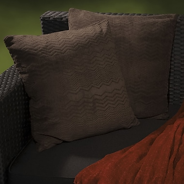 Home Loft Concepts Evelyn Jacquard Throw Pillow (Set of 2); Dark Brown