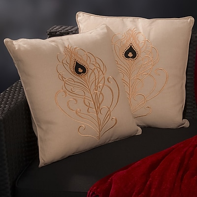 Home Loft Concepts Anna Light Embroidered Throw Pillow (Set of 2)