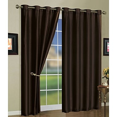 J&V Textiles Solid Semi-Sheer Grommet Curtain Panels (Set of 3); Coffee