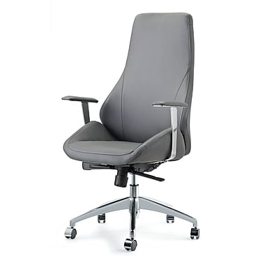 Impacterra Canjun High-Back Leather Executive Chair; Gray