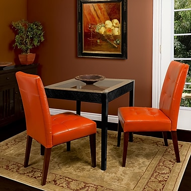 Home Loft Concepts Talib Tufted Leather Dining Chair (Set of 2); Burnt Orange