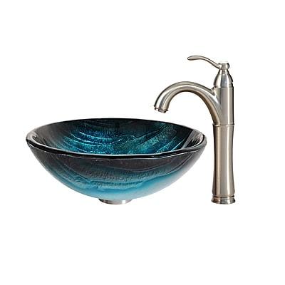 Kraus Ladon Glass Circular Vessel Bathroom Sink w/ Faucet; Satin Nickel