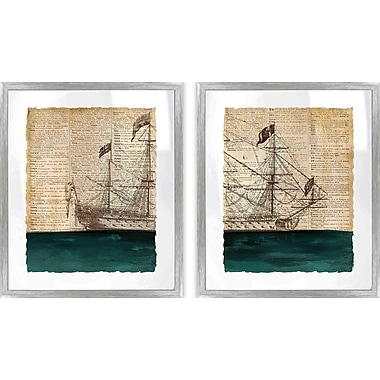 PTM Images Coastal Vintage Ship Diptych 2 Piece Framed Graphic Art Set