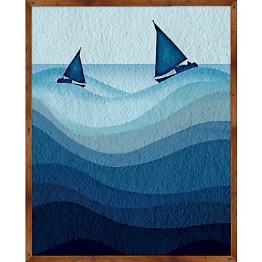 PTM Images Coastal Cyanotype Waves II Framed Graphic Art