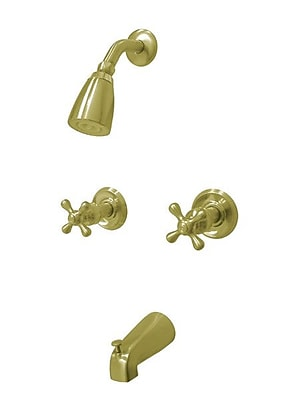 Kingston Brass Magellan Tub and Shower Faucet; Polished Brass