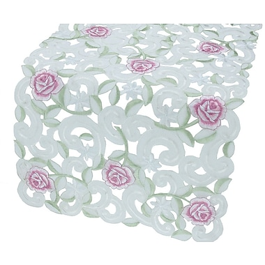 Xia Home Fashions Dainty Rose Table Runner; 12'' x 28''