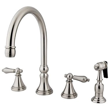 Kingston Brass Governor Double Handle Deck Mount Kitchen Faucet w/ Side Spray; Satin Nickel