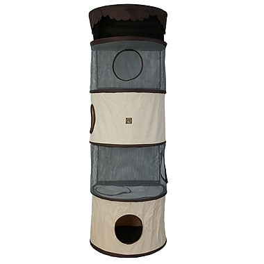 OneForPets 69'' Portable Four Story Cat Condo; Cream / Brown