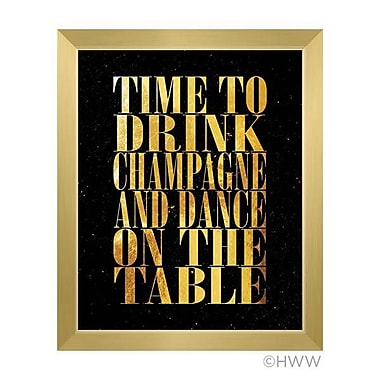 Click Wall Art Time To Drink Champagne Framed Textual Art in Gold; 23'' H x 19'' W x 1'' D