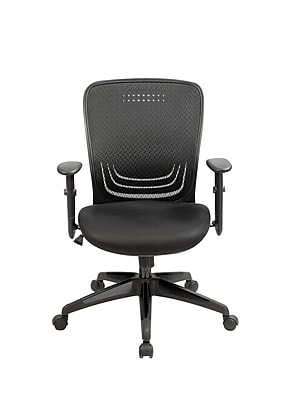 Eurotech Tetra Leather Computer and Desk Office Chair, Adjustable Arms, Black (MF272-BLK)