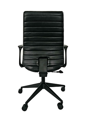 Eurotech Frasso Leather Conference Office Chair, Fixed Arms, Black (LEM801-BLKL-LA1)