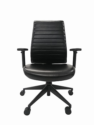 Eurotech LEM801-BLKL-AA1 Frasso Leather Conference Chair; Adjustable Arms, Black
